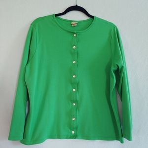 LL Bean Green 100% Supima Cotton Cardigan Sweater